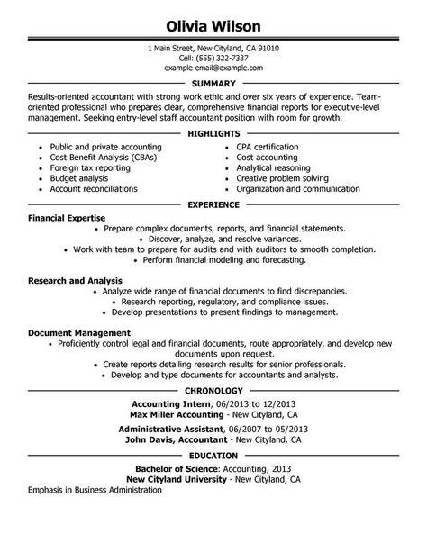 Accountant | Accountant resume, Job resume examples, Job ...