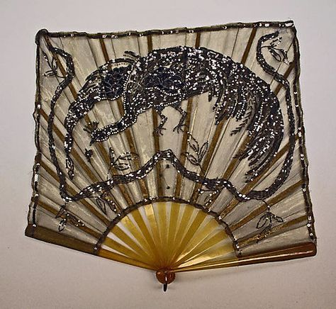 Sequined silk and celluloid square fan, French, ca. 1925.