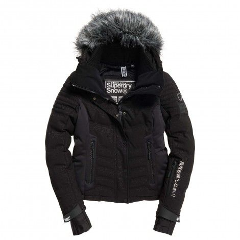Superdry Luxe Snow Puffer winterjas dames black frost