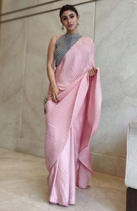 silk saree with plates on pallu area in 2020 | Designer saree blouse  patterns, Blouse designs high neck, White saree blouse