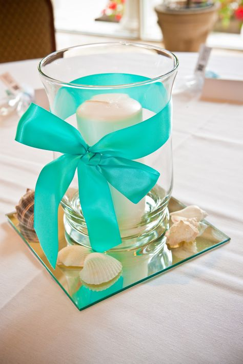 Teal Centerpiece, Shell Centerpiece - simple addition to a fabulous venue