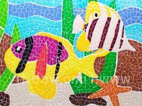 Gambar Kolase Ikan Dari Kaca Kolase Mosaik Gambar