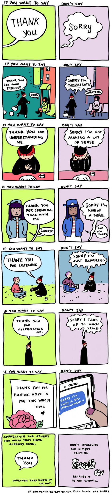 """A comic for people who say """"I'm sorry"""" too often<<<I need to remember this because I apologize for things I probably shouldn't"""