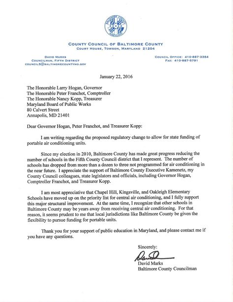 Letter Of Support From Baltimore County Councilman David Marks