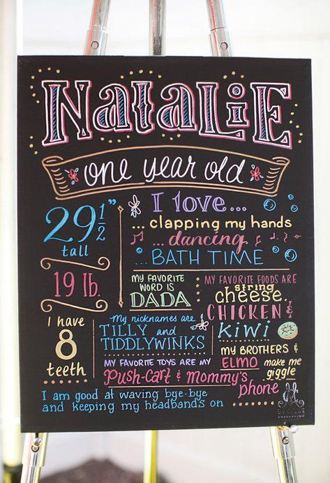 Beautifully written chalkboard first year sign