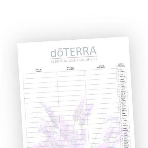 doterra class sign in sheet