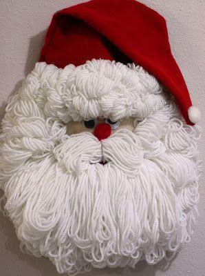 Bleach Bottle Santa Face - Love its full plump beard and hair. Santa Crafts, Christmas Projects, Holiday Crafts, Christmas Holidays, Christmas Ornaments, Santa Wreath, Xmas Wreaths, Snowman Wreath, Bleach Bottle