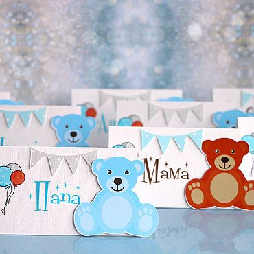 Baby Bunting for baby showers Tiny Tatty Teddy design also confetti /& envelopes