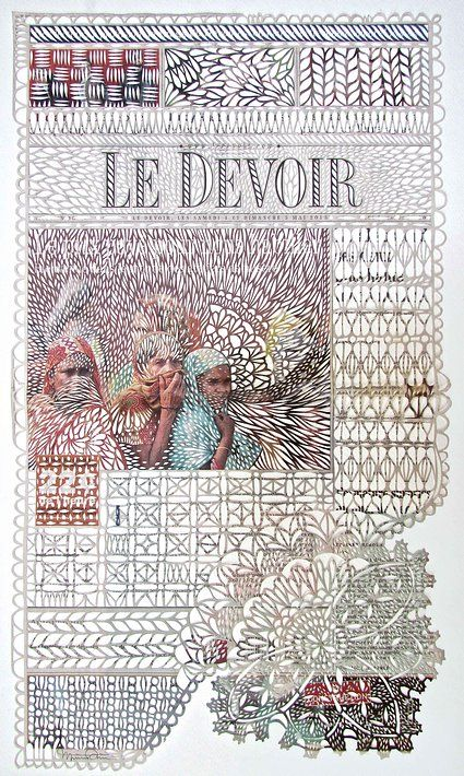 Artist Myriam Dion uses a scalpel to cut designs into newspapers