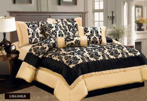 Luxury Antonio Lisa Damask 7 Pcs Bedspread Set Comforter Bedding Set