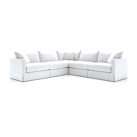 Willow 3 Piece Modern Slipcovered Sectional Reviews Crate And