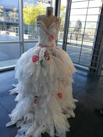 Gown made from plastic shopping bags