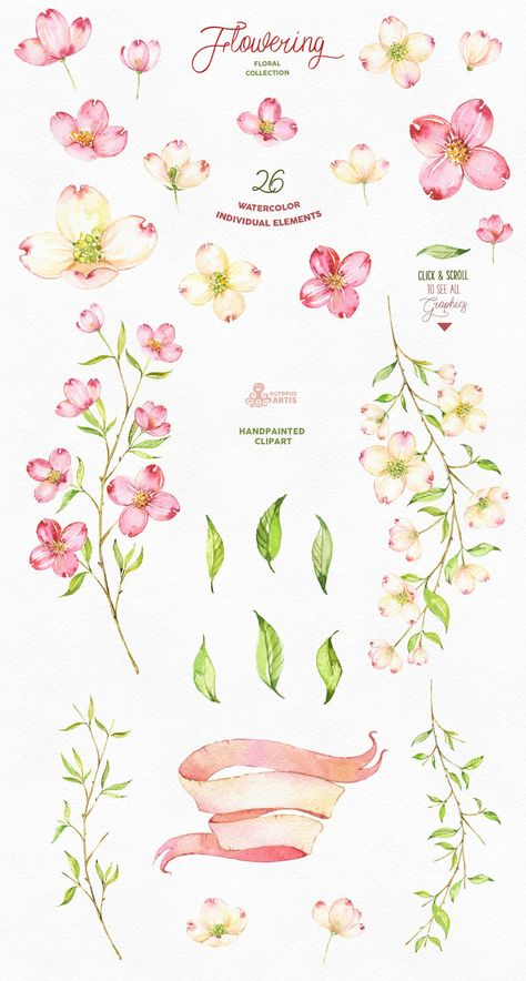 Here we introduce you this Romantic Watercolor Flowering Collection  This is an especially watercolor collection, so we recommend click and scroll through all the previews to see in everything that is included. This is a set of professional quality illustrations, and we hope you love every moment of using them!  Perfect graphic for DIY projects, cards, wedding invitations, greeting cards, identity, packaging design, cases, photos, posters, bags, wallart, logos, quotes, blogs, website, banners an