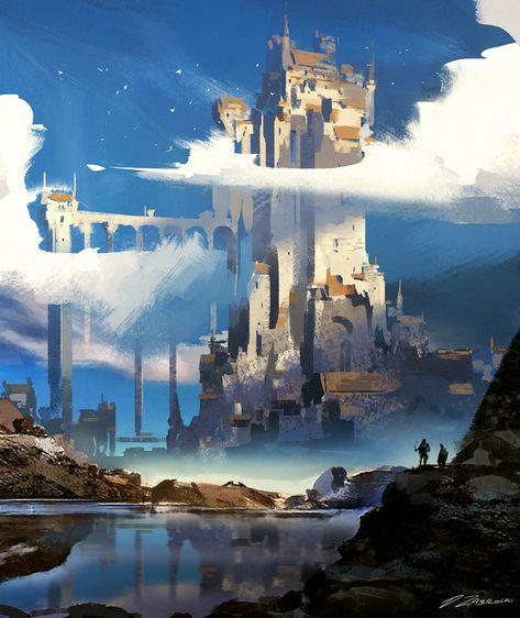 """Song Of The Blackest Bird"": Amazing Concept Art By Darek Zabrocki - Ryan McGeary Fantasy Artwork, Fantasy Art, Castle Sketch, Fantasy Landscape, Environment Design, Fantasy City, Digital Painting, Environmental Art, Landscape Art"