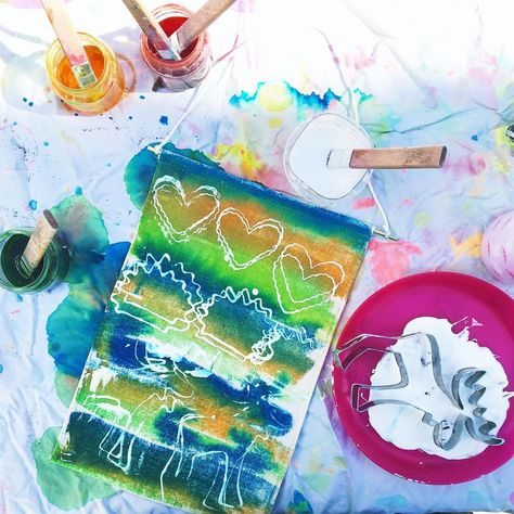 Banner Making With Liquid Watercolor White Paint And Cookie