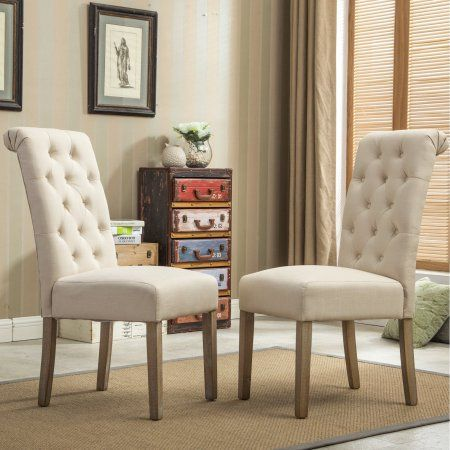 Roundhill Furniture Habit Solid Wood Tufted Parsons Dining Chair Tan Set Of 2 Brown In 2020 Parsons Dining Chairs Dining Chair Set Dining Chairs