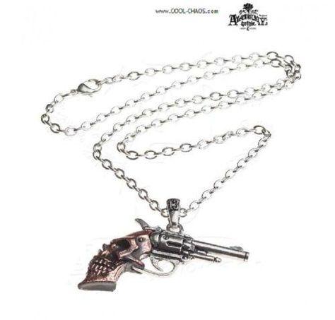 Sterling Silver Long Barrel Russian Vintage Revolver Colt Pendant Necklace