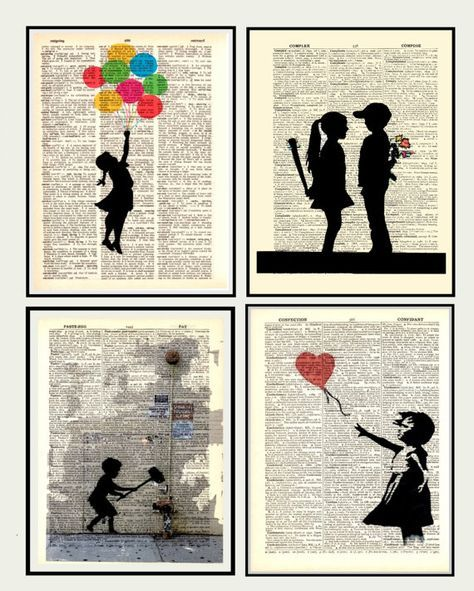 """Dictionary Print Art 4 special price Vintage poster Wall decor drawing Illustration digital Poster Office Kids Home & Living """"Banksy"""" 22"""