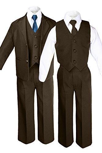 Unotux Boys Suits Tuxedos Formal Wedding Brown Satin Bow Tie from Baby to Teen