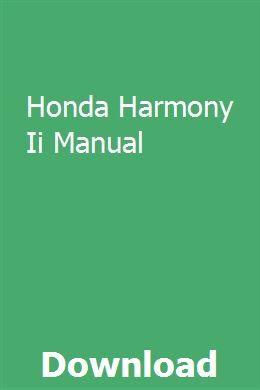 Honda Harmony Ii Manual Transmission Repair Manual Harmony