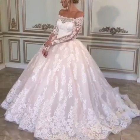 Vintage Lace Long Sleeves Wedding Ball Gown Dresses Off Shoulder – alinanova