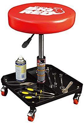 Amazon Com Torin Big Red Rolling Pneumatic Creeper Garage Shop Seat Padded Adjustable Mechanic Stool Red Automotive Shop Stool Garage Shop Mechanics Stool