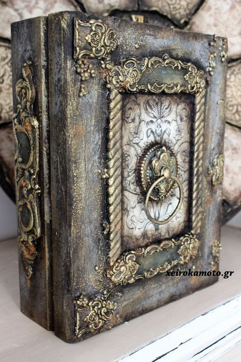 Door of Secrets Wooden Books, Painted Books, Mixed Media Boxes, Mixed Media Art, Altered Boxes, Altered Art, Cigar Box Crafts, Wooden Box Crafts, Decoupage Box