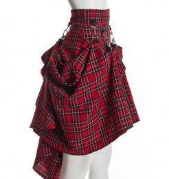 Plaid Black Red High Waist Steam Punk Victorian Skirt what to do with macF plaid skirt