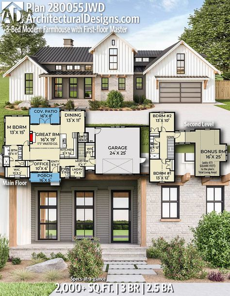 Plan 280055JWD: 3-Bed Modern Farmhouse with First-floor Master