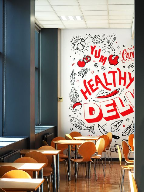 Cafe wall mural design at Lincoln College