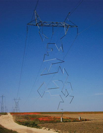 These beautiful giant sculptures support power lines with style transmission tower