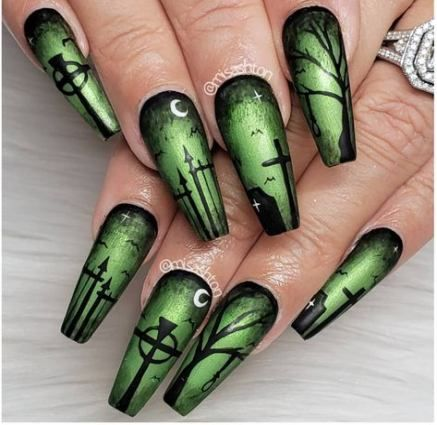 45 Ideas For Nails Design Black Green Halloween Acrylic Nails Scary Halloween Nails Design Cute Halloween Nails
