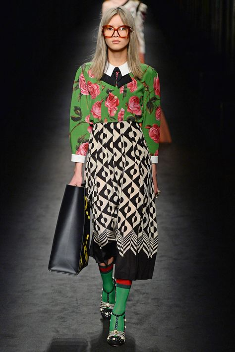 "Gucci RTW Fall 2016 Alessandro Michele described a multilayered collection encompassing ""some of my passions."" Street style, the Renaissance, the Seventies, ""and a little injection"