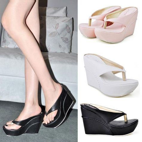 b220e7efaa400 Women s HOT Sale Flip Flops Wedges platform Pumps Sandals High Heels Beach  Shoes  NEW  FlipFlops