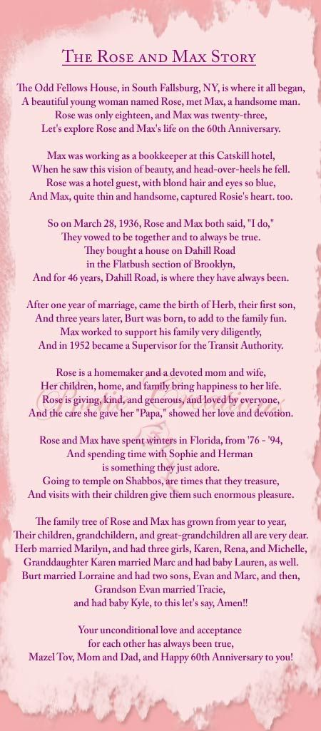 50th Wedding Anniversary Poems Home About Personalized Poems