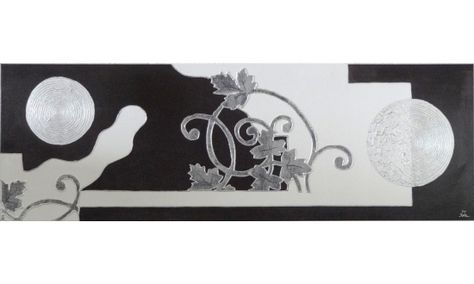 Cuadro Floral Blanco-Negro-Gris [08-013] | www.olyarte.com