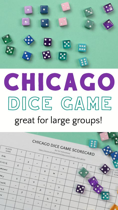 Chicago Dice Game: Perfect for Large Gatherings - - Chicago dice game, also known as Rotation, is a fun, fast-paced, incredibly easy to learn game of pure luck which is perfect for mixed-age large groups! Dice Games, Activity Games, Math Games, Games To Play, Game Of Dice, Maths, Family Card Games, Fun Card Games, Free Fun Games