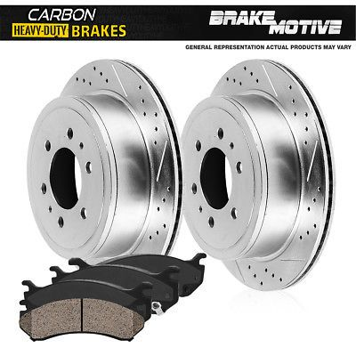 Fit 1994-1998 Ford Mustang Front Rear PSport Drilled Brake Rotors+Ceramic Pads