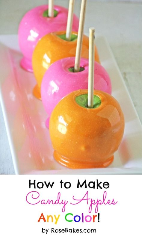 Colored Candy Apples - Want to do this in purple, green & orange for Halloween