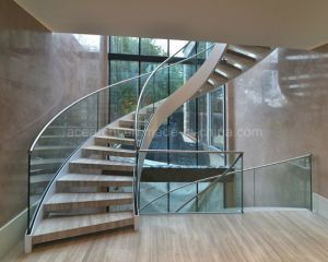 Best Price Curved Glass Staircases With Bent Glass Railing Glass   Glass Spiral Staircase Cost   Laminated Glass Railing   Stair Railing   Stainless Steel   Prefabricate Stainless   Low Cost