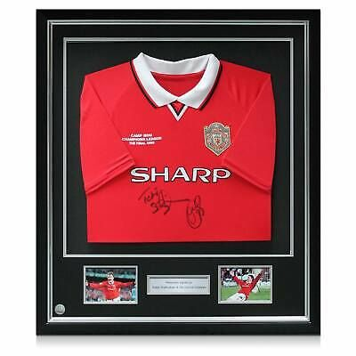 Framed Teddy Sheringham Ole Gunnar Solskjaer Signed Manchester United Shirt Fashion Sports Mem In 2020 Manchester United Shirt Graphic Sweatshirt Manchester United