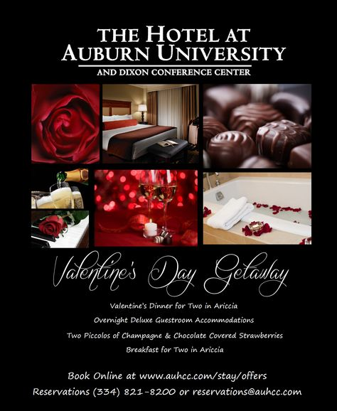 Enjoy a romantic Valentine's Day weekend at the Hotel at Auburn University | http://auhcc.com/stay/offers-en.html