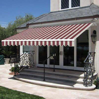 Freeport Park Alvin 12 Ft W X 10 Ft D Retractable Patio Awning Color Gray With Images Patio Awning Canopy Outdoor