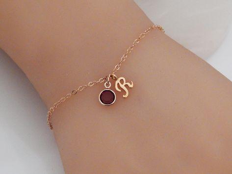 Women bracelet Initial Birthstone Bracelet Bridesmaid Gift Personalized gold Letter Birthday Bracelet Simple Everyday Gift for Her Girlfriend