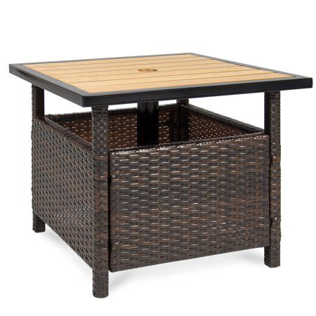 Best Choice Products Wicker Rattan Patio Side Table Outdoor Furniture For Garden Pool Deck W Umbrella Hole Brown Walmart Com Patio Umbrella Stand Rattan Outdoor Furniture Outdoor Umbrella Stand