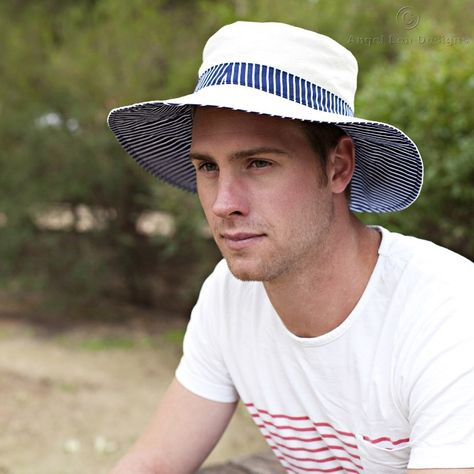 Man Sun Hat Pattern. PDF Sewing Pattern Mens Reversible Brimmed Sunhat  31e7a2754d88