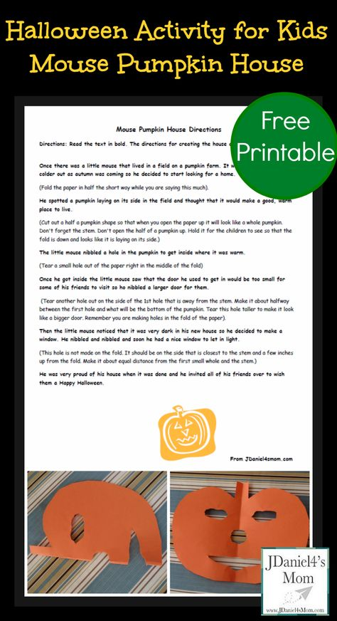 Halloween Activity for Kids- Mouse House Pumpkin: This is great storytelling activity. It would be great to do at your Halloween party.