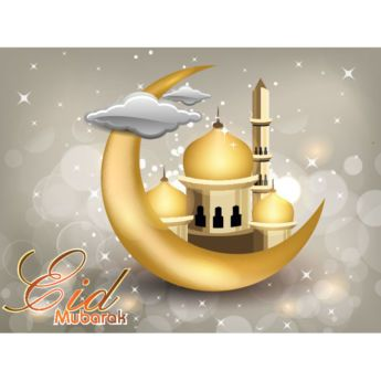Vector Eid mubarak Calligraphy text with 3d Golden moon and mosque abstract…