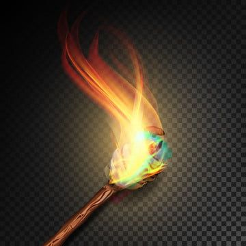 Torch With Flame Realistic Fire Realistic Fire Torch Isolated On Transparent Background Vector Illustration Torch Flame Fire Png And Vector With Transparent Transparent Background Vector Illustration Fire Torch