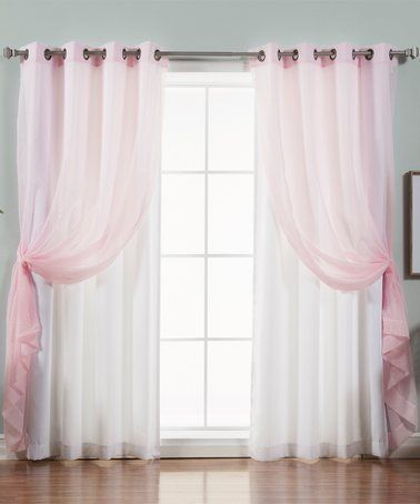 Pink Sheer Nordic White Curtain Panel Set Of Four